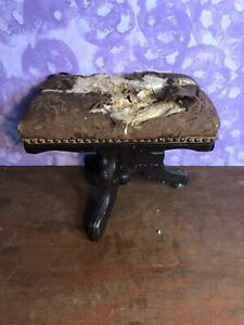 Vintage Ornate Decorative Victorian Wooden Wood Foot Stool For Restoration