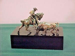 Vintage Miniature Silver Picador With Bull Figurines