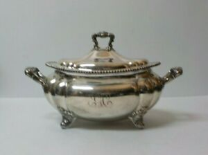 Gorham Silver Plate Footed Lidded Tureen Gadroon Border C 1900
