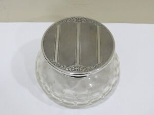 Antique 800 Silver Lid And Cut Glass Powder Jar