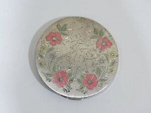 Vintage Rex Sterling Silver Art Deco Large Cosmetic Compact Powder Box