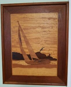 Marquetry Inlaid Wood Bay Race Sailboat Seagull Lighthouse Lancey