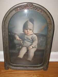 Antique Carved Painted Bubble Glass Frame W Tinted Photo Of Child Convex Afa