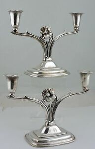 Vintage Silver Plated Candlestick 2 Arm Daffodil Flower Pair Rogers