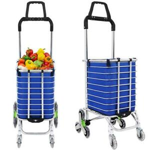 Aluminum 8 Wheels Oxford Cloth Bag Folding Stairs Double Handle Shopping Cart Us
