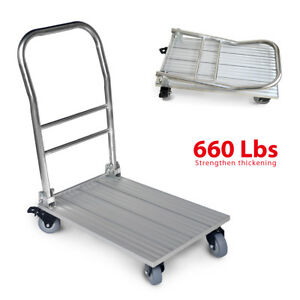Folding Platform Trolley Cart Hand Truck With Brakes Flatbed Push Moving Dolly