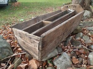 Prim Old Wooden Tool Box Caddie Table Store Household Decor Display