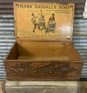 Rare Antique Frank Siddalls Soap Wooden Shipping Crate Box W Nice Paper Label 2