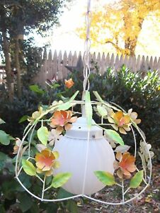 Tole Mcm Flowers Floral Tole Hanging Light With Long Cord To Swag Works