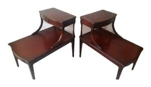 2 Two Tier Genuine Mahogany End Side Tables W Leather Top Drawer Shipping Avail