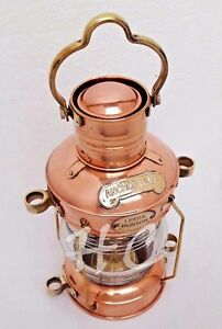 Nautical Maritime Brass Copper Anchor Oil Lamp Leeds Burton Ship Lantern