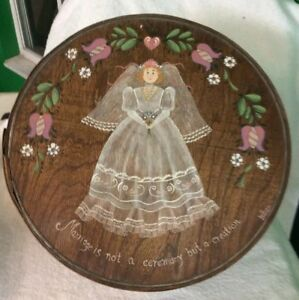 Large Vintage Hand Painted Cheese Box Signed Leban