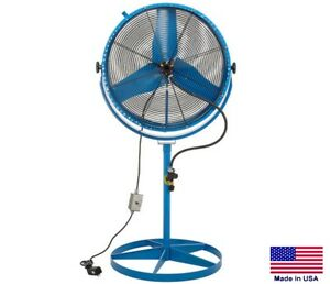 Misting Fan Industrial Pedestal 360 Tilt Head 2 Spd 30 8800 6000 Cfm