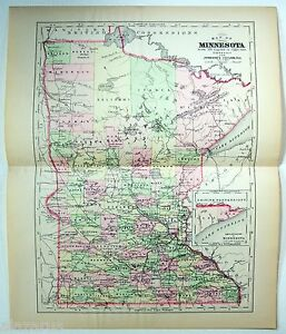 Original 1896 Copper Plate Map Of Minnesota By A J Johnson