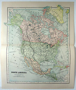Original 1882 Map Of North America By Phillips Hunt Antique