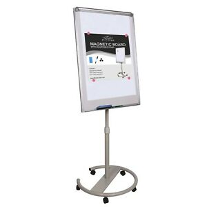 Magnetic Dry Erase Whiteboard W Adjustable Height Round Base Stand