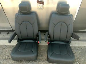 Black Leather 2 Bucket Seats Hotrod Jeep Truck Van Bus Humvee New Takeouts 2
