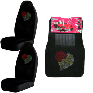 Heart Red Rose Flower Crystal Rhinestone Car Truck Floor Mats Seat Covers Combo