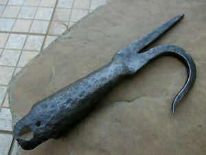 Antique 1800s Wrought Blacksmith Made Farm Rustic Tool Rare Enormous Old Hook