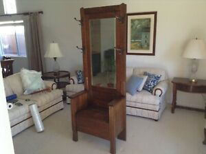 Hall Tree Storage Bench With Mirror Antique Dunlap Schirmer Furniture Co