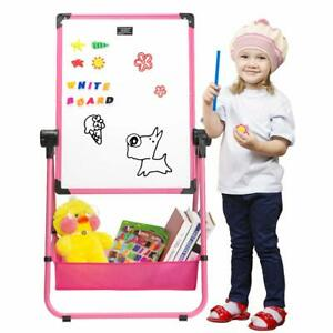 Magnetic Whiteboard Double Sides 24 x18 Kids Flip Chart Easel U stand Pink