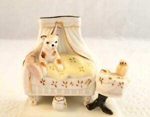Antique Staffordshire Fairing Figurine Match Strike Cat In Bed Who Said Rats