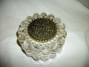 Art Deco Antique Filigree Bullet Glass Powder Jar Mirror Paris Apt Chic Shabby