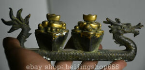7 2 Old China Bronze Gilt Dynasty Fengshui Dragon Loong Boat Ship Wealth Statue