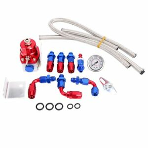 Universal Blue Red Adjustable Fuel Pressure Regulator Kit An 6 Fitting End