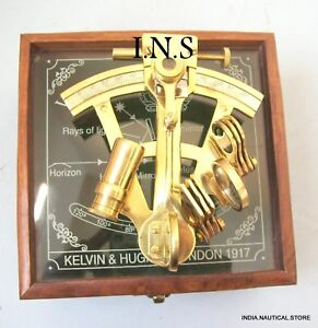 Maritime Collectible Nautical Brass German Sextant W Wooden Box Gift