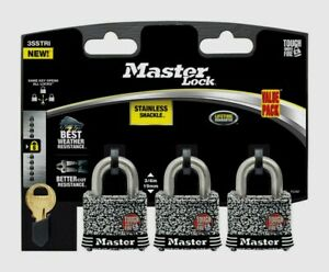 Master Lock 1 9 16 Laminated Steel 4 pin Cylinder Padlock Keyed Alike 3sstrihc