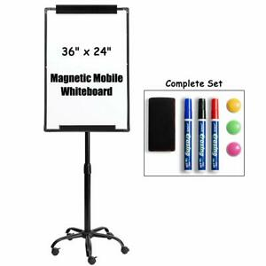 Magnetic Mobile Dry Erase Board Whiteboard 24 x36 Flip Chart Easel Adjustable