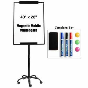 Magnetic Mobile Dry Erase Board Whiteboard 28 x40 Flip Chart Easel Adjustable