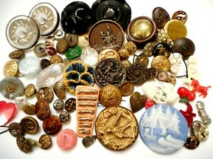 Retired Dealer Collection Of Unusual Vintage Antique Clothing Buttons Lot
