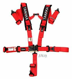 Tanaka 2 Latch Link Utv 5 Point Harness Set With Comfort Shoulder Pads Red