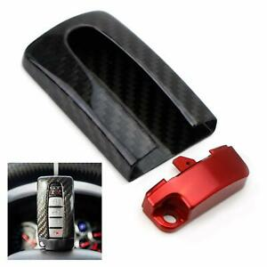 Carbon Fiber Gtr Style Key Fob Cover Case W Red For Nissan Infiniti Oval Remote