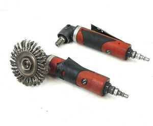 Lot Of 2 Sioux Swg10a124 1 4 Pneumatic Air Angle Grinder Sander 12 000 Rpm