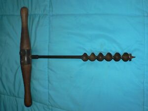 Vintage Antique Solid Wood Handle Auger Drill Bit Tool Millers Falls No 2 18