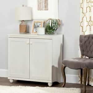 South Shore Hopedale 2 door Storage Cabinet White Wash White