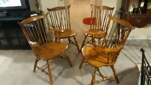 Nichols Stone Set Of 4 Windsor Dining Chairs 2 Captains Armchairs 2 Standard