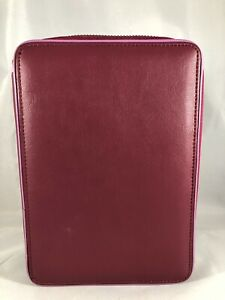 Franklin Covey Compact Berry Red Pink Leather Zip Planner Binder 75 Rings Guc