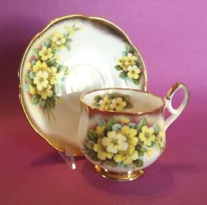 Rosina Pedestal Teacup And Saucer Yellow Flowers Wide Gold Borders England
