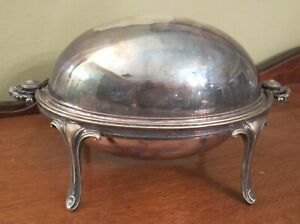Antique Footed Silverplate Chafing Dish Hallmarked Patent 9067 94 5355