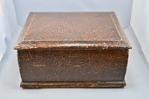 Vintage Antique Wooden Jewellery Sewing Box Brown Lacquered Finish Folk Art