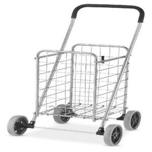 Shopping Cart Utility Cart Rolling Trolley Folding Laundry Carts Heavy Duty New