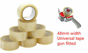 25mm X 66m 1 And 48mm X 66m Clear Strong Packing Parcel Tape Pack Sellotape Cs