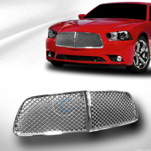 Fits 11 14 Dodge Charger Chrome Mesh Front Hood Bumper Grill Grille Guard Abs
