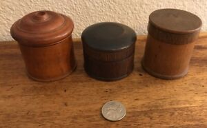 Antique Fine Carved Wood Circular Box Lot Of 3 Treenware