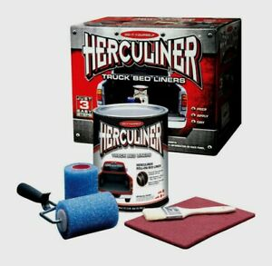 Herculiner Diy Truck Bed Liner Kit Brush Roll On Black Strong 1 Gallon 60 Sq Ft