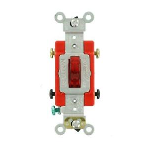 Leviton Light Toggle Switch Industrial Grade Heavy Duty Double Pole Pilot Red